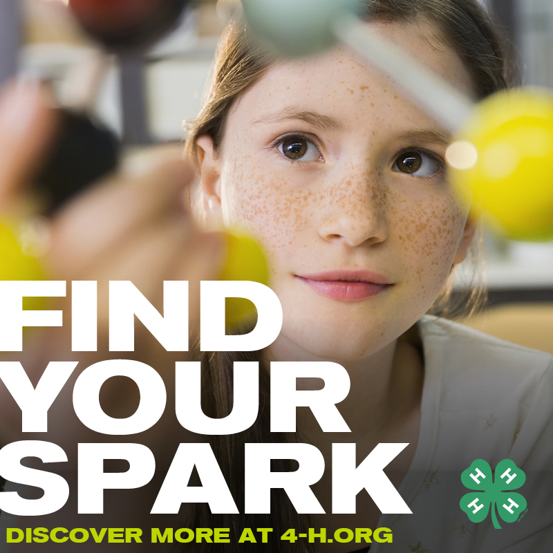 """4-H photo of STEM girl """"Find Your Spark"""""""